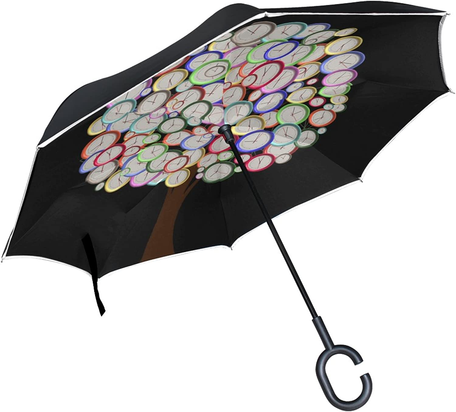 Double Layer Ingreened Tree Watches Time Hours Minutes Seconds Umbrellas Reverse Folding Umbrella Windproof Uv Predection Big Straight Umbrella for Car Rain Outdoor with CShaped Handle