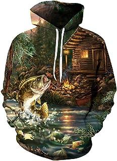 Mens Womens Hoodies 3D Print Graphic Pullover Sweatshirt Long Sleeve Casual Loose Tops Bass Fish Jumping