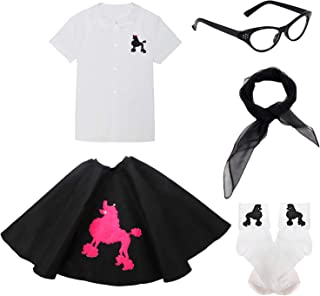 50s Girls Outfit Accessory Set - Poodle Dress Shirt,Poodle Costume Skirt,Chiffon Scarf,Cat Eye Glasses,Bobby Socks