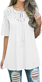T-Shirt Women's Loose Solid Lace Tops Tie Short Sleeve O-Neck Tops Blouse