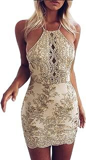 Beikoard Damenkleider Sexy Frauen Paillette Golden Bodycon-Kleid Seidenstickerei Ärmellos Abendkleider Camisole Trägerkleid Rückenfreies Gesäß Minikleid