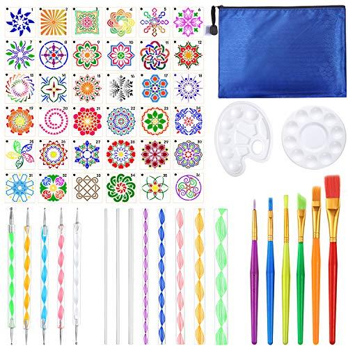 Outus 58 Sets, Punkt Werkzeuge für Mandala Malen Set mit Mandala Schablonen Kugelstift Pinsel, Farbwanne Acrylstab und Aufbewahrungstasche für Felsen Stoff Wand Nagel Kunst Malerei Färbung Zeichnung