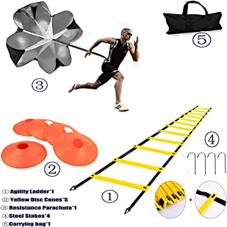 XINXIANG Speed AgilityTraining Kit-Includes Agility Ladder, 5 Round Training Cones,Resistance Parachute, 4 metal Stakes & Carrying bag,Sport Training Set for Faster Footwork and Better Movement Skills