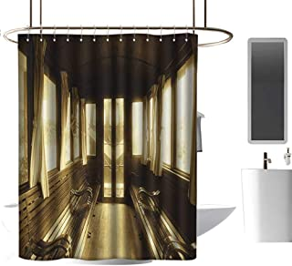 TimBeve Extra Wide Shower Curtain Antique,Old Vintage Train Salon Inside Historical Transport Windows with Curtains Arch Shape,Sepia,Eco-Friendly,for Bathroom Curtain 60
