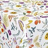 Wachstuch Wachstischdecke Tischdecke Breite und Länge wählbar Birte Weiß Bunt 90 x 90 cm Eckig abwaschbare Gartentischdecke