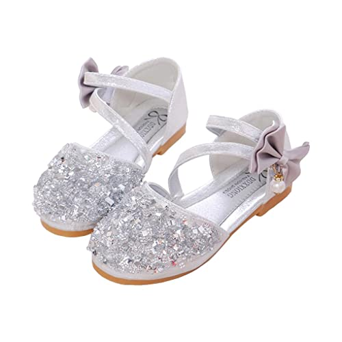 67e36c9b5c95bb lakiolins Toddler Girls Summer Closed Toe Bling Sandals Princess Flat Shoes  with Bowknot