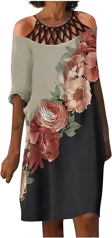 Futurelove Women Summer Dresses Hollow Elegant Cold Shoulder Short Sleeve O-Neck T-Shirts Dress Boho Print Mini Beach Skirt