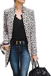 Women's Open Front Jacket Long Sleeve Leopard Print Blazer Cardigan Coat of Office Suit