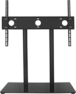 WALI Table Top TV Stand with Glass Base and Security Wire Fits Most 32 to 60 inch LED, LCD, OLED and Plasma Flat Screen with VESA Pattern up to 600 by 400mm (TVDVD-2), Black