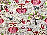 Minerva Crafts Eulen Print Stretch Jersey Knit Kleid Stoff