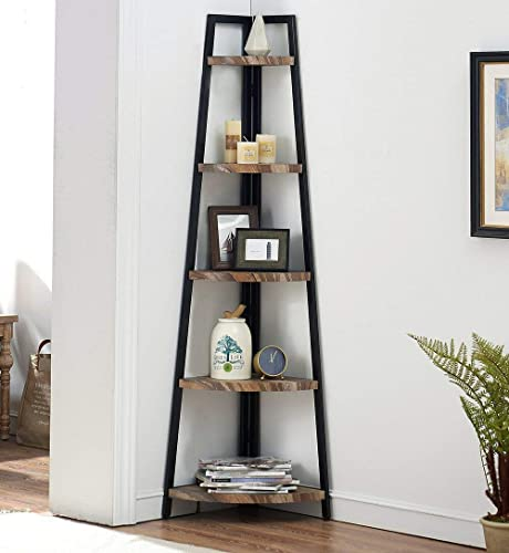 wholesale O&K Furniture 5 Shelf Industrial Corner Bookcase and Shelf, A-Shaped Display Corner discount Storage Rack Bookshelf-70-Inch, sale Vintage Brown outlet online sale