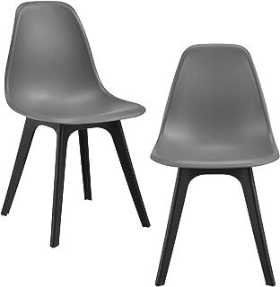 [en.casa] Set de 2 sillas de Comedor Lendava 83x54x48 cm Sillas de diseño 2 Unidades Plástico Gris y Negro