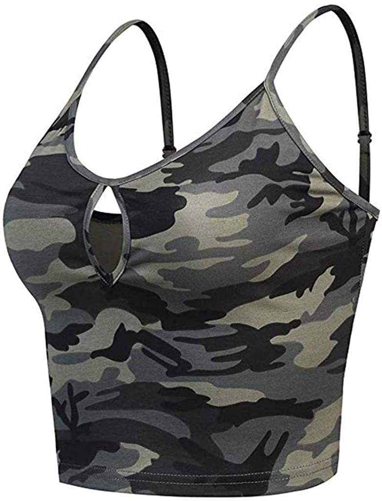 Women Crop Tops, Sexy Sleeveless Tank Top Casual Camouflage Print Vest Hollow Out Shirt Summer Clothes Club Vest