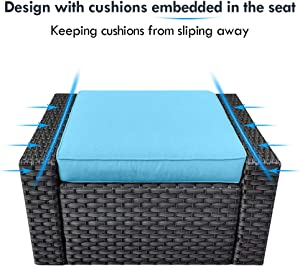 10 Piece Outdoor Patio Conversation Furniture Sets, Stamo All Weather Black PE Rattan Wicker Cushioned Sectional Sofa Chairs with Glass Coffee Table, Lake Blue
