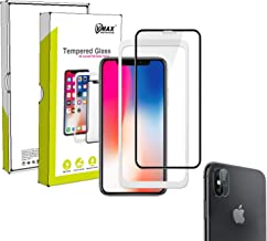 VMAX MORE THAN YOU SEE[3DMaximum Protection Full Coverage] Premium Tempered Glass Screen Protectorwith [Back Camera Glass] [Applicator] for iPhone X/iPhone Xs-5.8inch (Black)