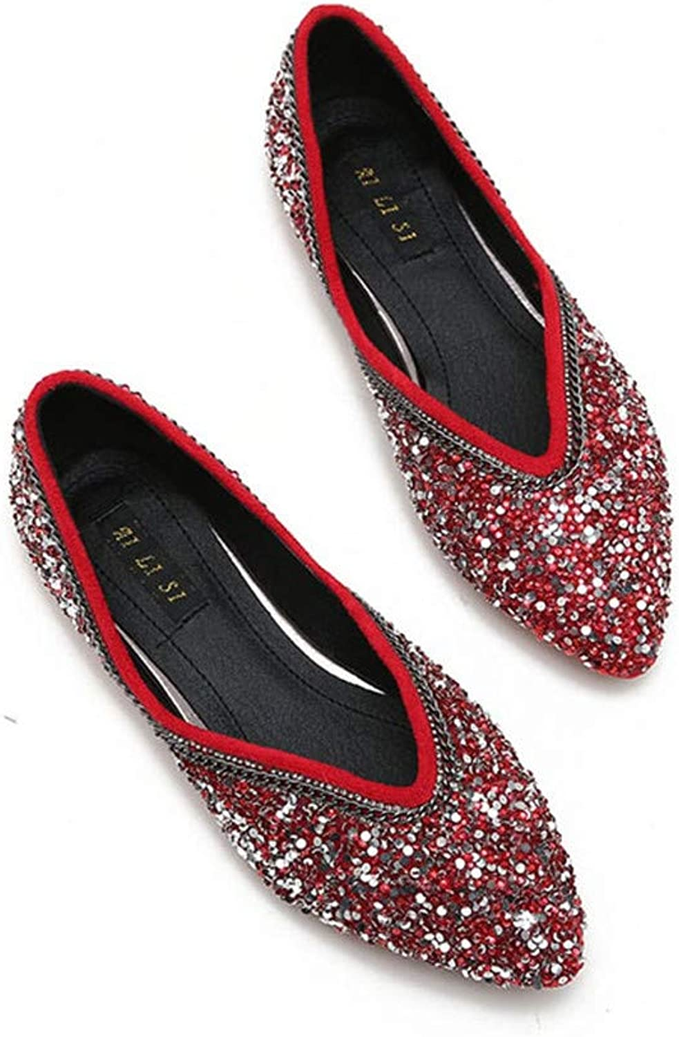 Fashion Women Bling shoes Casual Flats Pointed Toe shoes Lady Shallow Loafers Soft Flat
