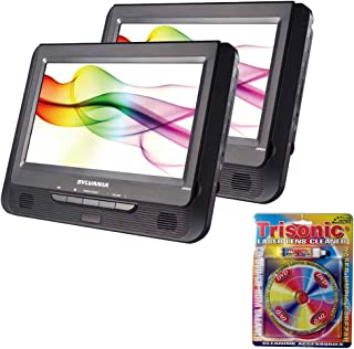 """SYLVANIA 9"""" Twin Dual Screen DVD Player (SDVD9805) with Trisonic Laser Lens Cleaner for DVD/CD Players"""