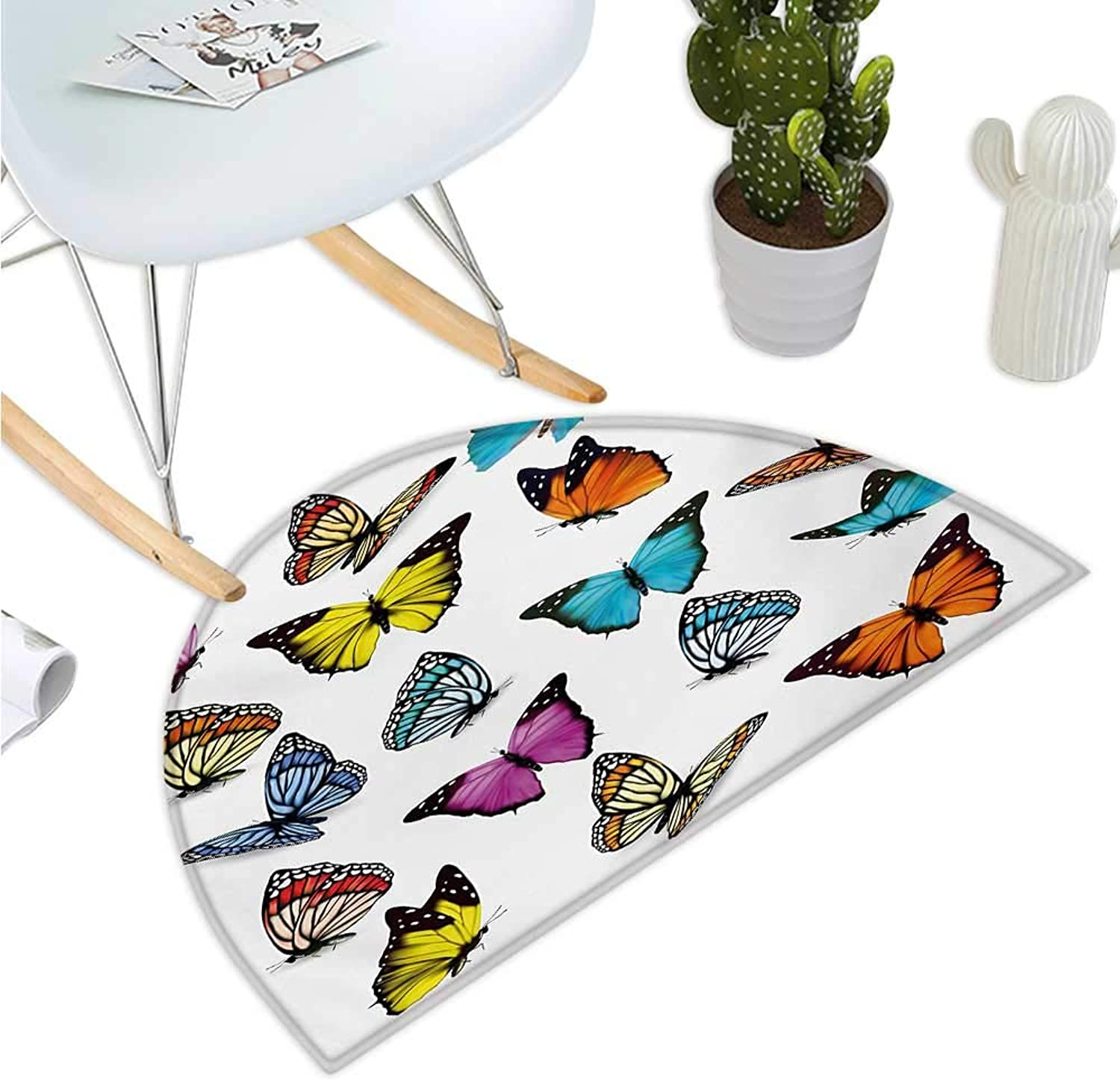 Animal Semicircular Cushion Big Collection of colorful Butterflies Flying Artistic Composition Summertime Print Bathroom Mat H 43.3  xD 64.9  Multicolor