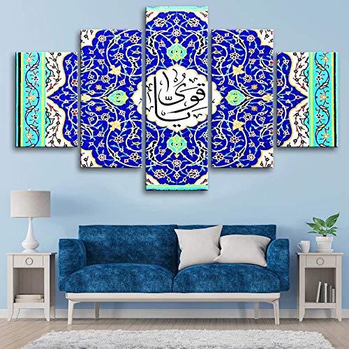 Azulejos y mosaicos islámicos/Wall Art 5 Piezas,Pintura de la Pintura de la Pared La impresión de la Imagen Decoración, Moderna del del Interior Modular La Lona Pintura, Talla:150X80Cm Con marco
