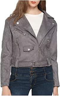 Women's Faux Leather Casual Short Jacket,Moto Floral Coat with Multi-Pocket, for Spring and Autumn