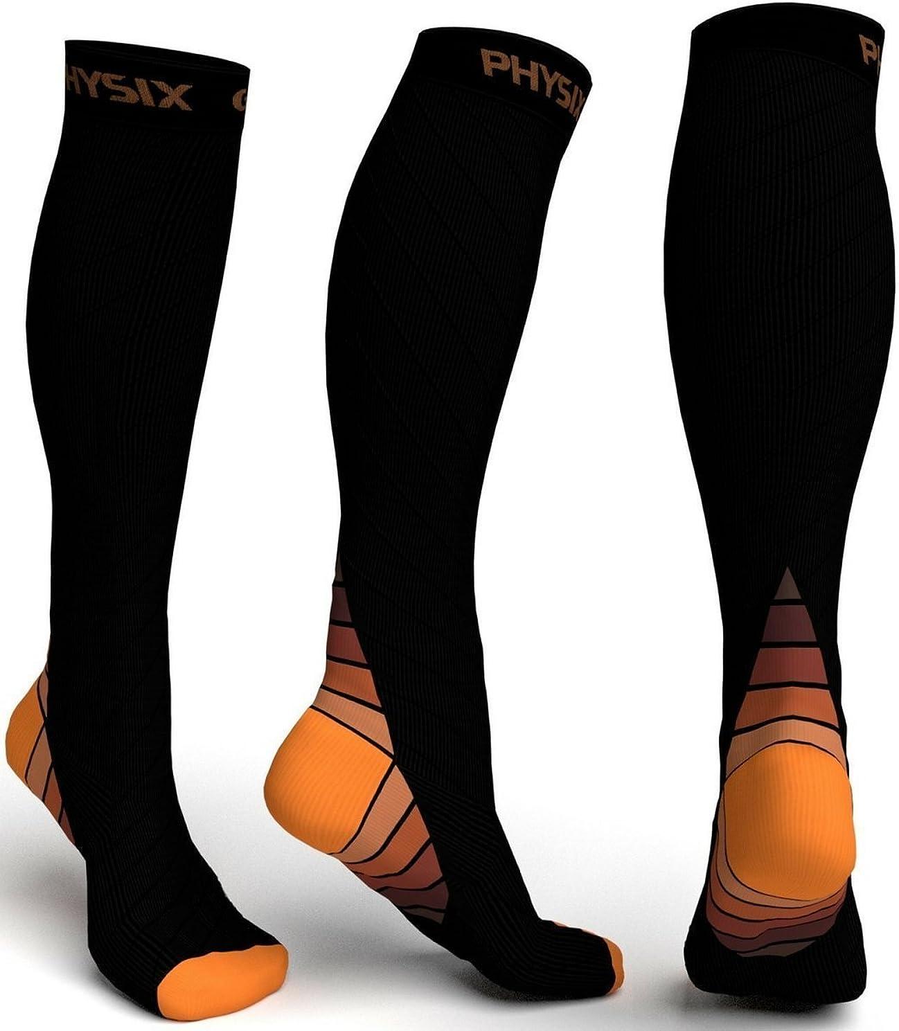 Physix Gearコンプレッションソックス男性用/女性用(20?30 mmHg)最高の段階的なフィット ランニング、看護、過労性脛部痛、フライトトラベル&マタニティ妊娠 – スタミナ、循環&回復 (BLACK & ORANGE S-M)