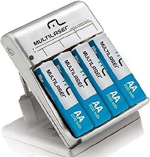 Carregador De Pilhas Multilaser AA/AAA + 4 Pilhas Recarregavel Aa Bivolt