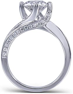 Center 1.5 Carat Color (H-I) Moissanite Stone Engagement Ring Solitare with Accents Platinum Plated Silver for Women