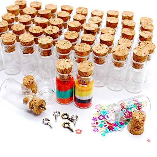 Dow 100pcs 1ml Vials Clear Glass Bottles with Corks Miniature Glass Bottle with Cork Empty Sample Jars Small 22x11mm(HeightxDia) Cute Bottles Perfect for Crafts