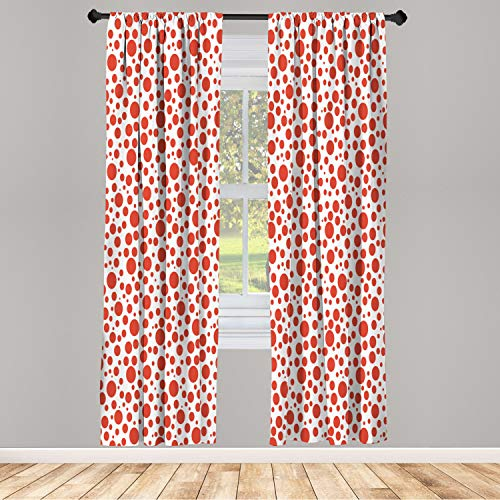 """Ambesonne Abstract Window Curtains, Red Polka Dots on White Background Bubble Like Design Modern Pattern Print, Lightweight Decorative Panels Set of 2 and Rod Pocket, 56"""" x 84"""", Vermilion White"""