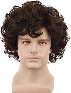 Yuehong Short Mens Wig Curly Brown Wig Anime Cosplay Wigs Halloween Cosplay Costume Hair Wig