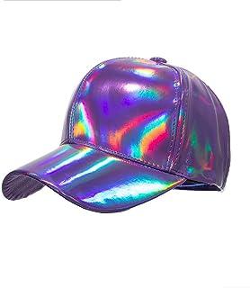 b28abcfd3d8d2c Shiny Holographic Baseball Cap Laser Leather Rainbow Reflective Glossy  Snapback Hats