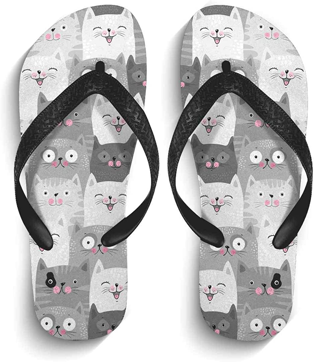 InterestPrint Non-Slip Flip Flops Black Straps Funny Grey Cats Cute Pattern Background Summer Beach Thong Sandal for Men S
