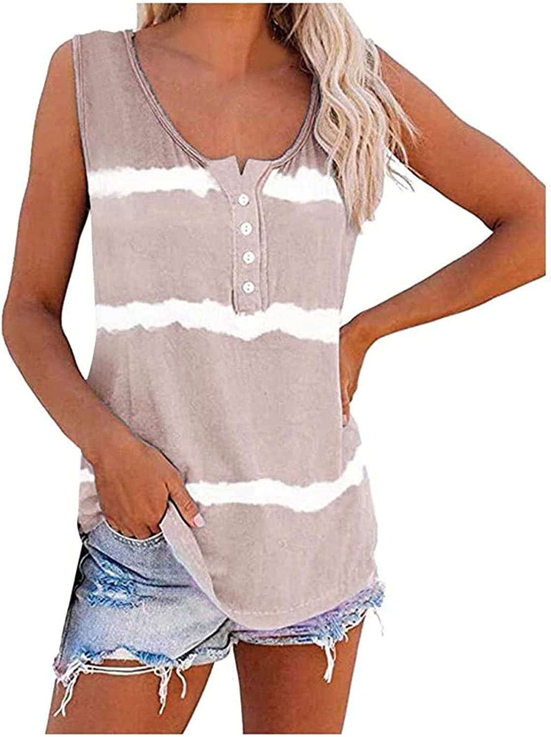 Women's Tie-Dye Max 83% OFF Scoop Neck San Diego Mall Sleeveless Summer Shirts Casual Loose