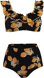 futurino Women's Vintage Two Piece Bikini Swimwear Padding Crop Bikini Top High Waist Swimsuit Bathing Suit