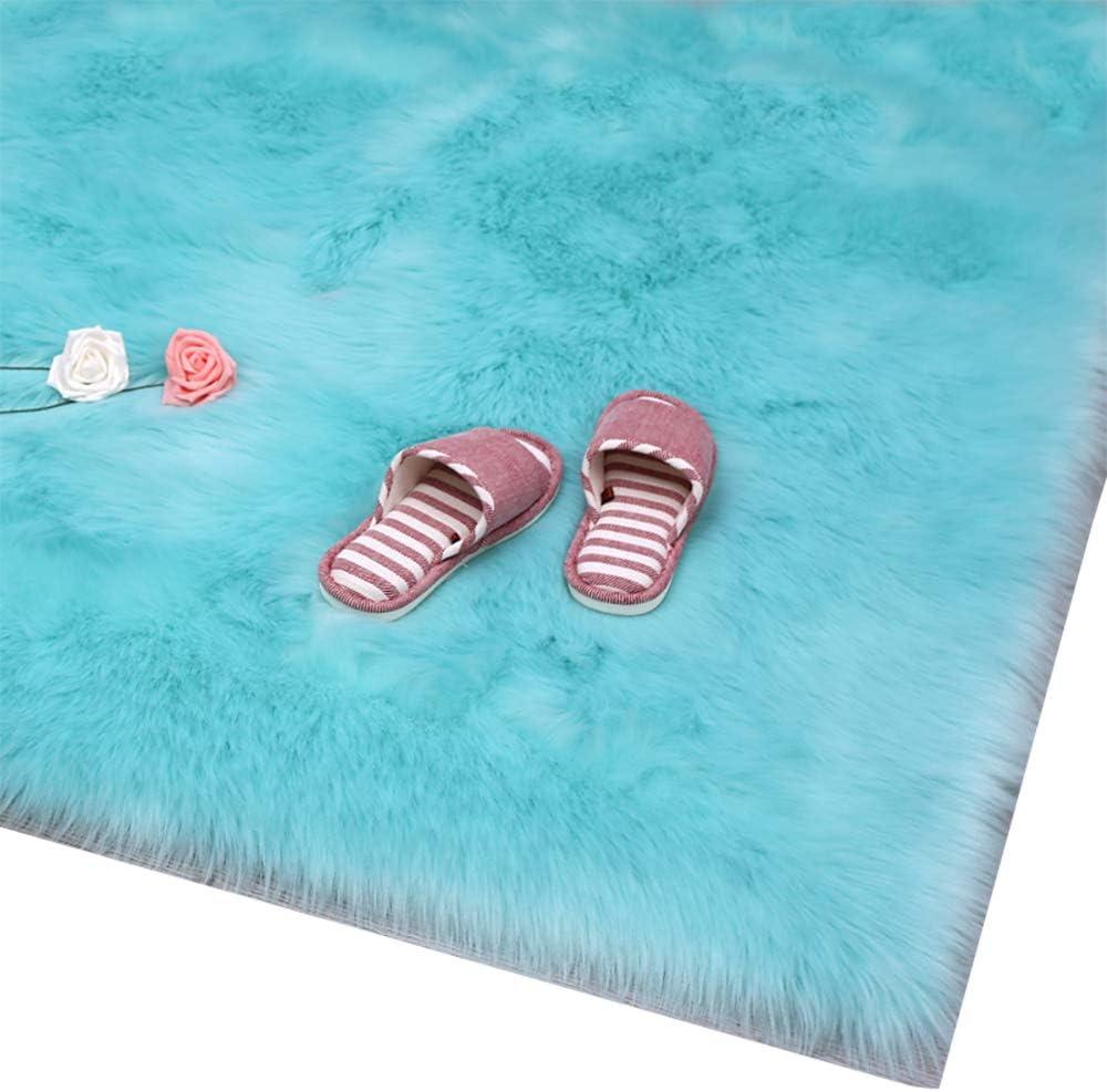 HUAHOO Faux Fur Sheepskin Rug 超激安 超安い Tiffany Blue Carpet Soft Kids