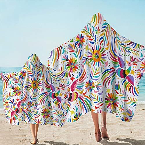 Toalla de baño étnica adornada con capucha para niños colorido usable playa abrigo flores manta