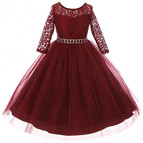 30df9226a3e Girls Dress Lace Top Rhinestones Tulle Holiday Christmas Party Flower Girl  Dress