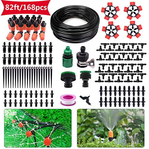 HANSILK Drip Irrigation Kit 82ft/25m DIY Adjustable Micro Automatic Irrigation System for Garden Flower Beds Saving Water and Time 1/4inch Blank Distribution Plant Tubing Hose 2 Sprinkler Types