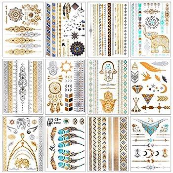 12 Sheets Metallic Temporary Tattoos for Women Teens Girls Tattoos Gold Silver Glitter Flash Waterproof Tattoo Stickers