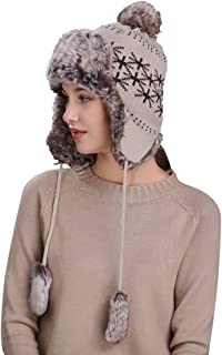 Hat with Ear Flaps Women,Quaanti Warm Women Winter Hat with Ear Flaps Snow Ski Thick Knit Wool Beanie Cap Hat (Beige)