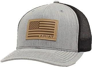 قبعة ARIAT رجالية من الجلد مع رقعة شبكية خلفية بكبّاس، رمادي