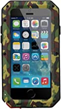 New Waterproof Shockproof Aluminum Gorilla Glass Metal Military Heavy Duty Armor Bumper Cover Case for Apple iPhone 5 5S Home Key +Fingerprint (Camouflage)