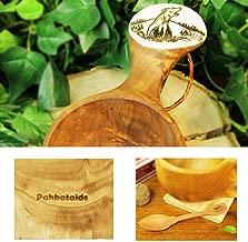 北欧フィンランド木製 本物ククサ Kuksa Pahkataide(パッカタイデ)ヴィサコイブ/カーリーバーチ オオカミの絵柄ツノ飾り 説明書 箱包装 木製ヴィンテージスプーン付き