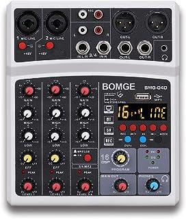 BOMGE Mezcladores de sonido profesionales de 4 canales DJ con interfaz USB/entrada MP3/entrada Bluetooth, 48V Phantom Powe...