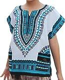 RaanPahMuang Childs Unisex African Dashiki Kaftan Shirt - XS to L, 0-2 Years, White Light Blue