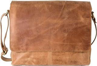 HOLZRICHTER Berlin Premium Umhängetasche M aus Leder - Handgefertigte Messenger Bag im Vintage Design - Ledertasche für Herren und Damen