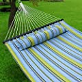 Nova Microdermabrasion Quilted Fabric Hammock with Pillow, Spreader Bar Portable Outdoor Camping Hammock for Patio Yard Heavy Duty?450lbs Capacity