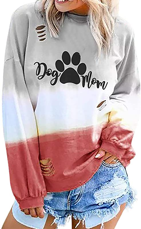 ZOMUSAR Blouse For Women Fashion Women Gradient Color Long Sleeve O Neck Letter Printed Casual Tops