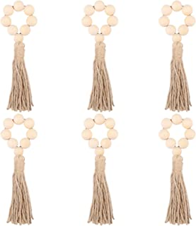 BESPORTBLE 6pcs Wooden Bead Napkin Rings with Tassels Wood Bead Garland Farmhouse Decor Rustic Napkin Holders for Wedding ...