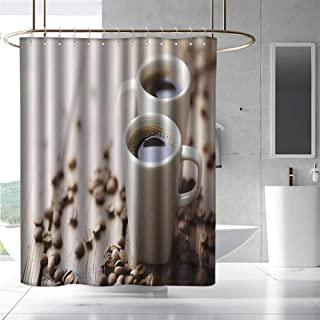 EwaskyOnline Funny Shower Curtain Coffee Espresso in Cups on Wooden Table with Beans Hot Drink for Romantic Couples Bathroom Curtain Washable Polyester W72 x L72 Cocoa Brown White